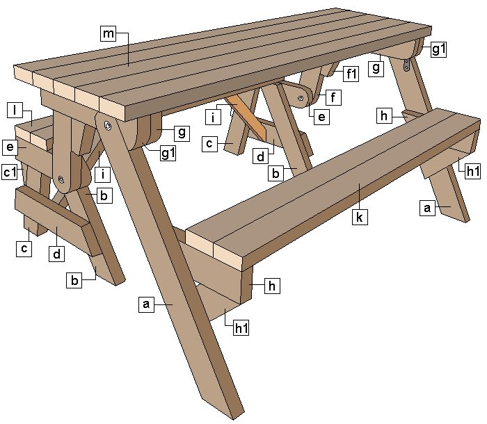 One-Piece Folding Picnic Table out of 2×4 Lumber : schematics