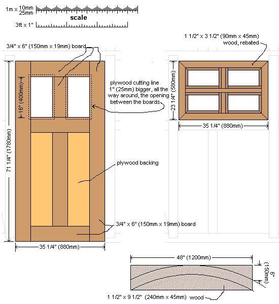 10 x 10 Tudor Style Shed : Shed door and window plan