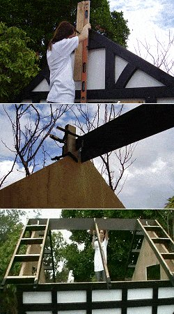 10 x 10 Tudor Style Shed : shed roof frame being erected