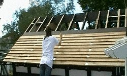 10 x 10 Tudor Style Shed : shed roof boards being fixed