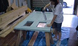 10 x 10 Tudor Style Shed : shed door being made