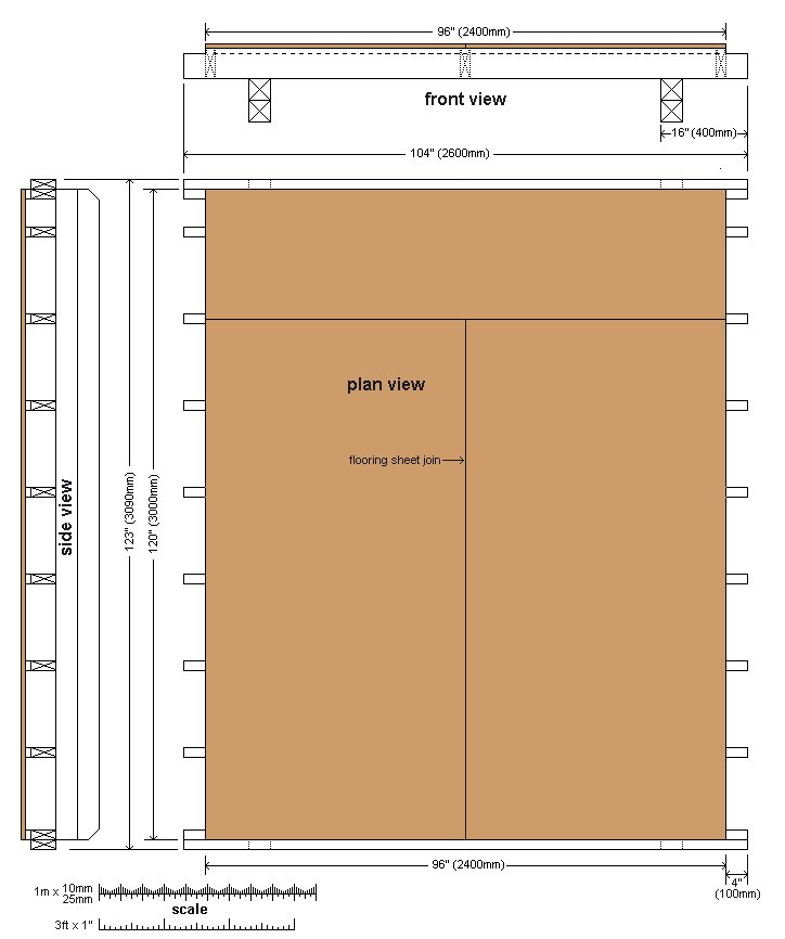 10 x 10 Tudor Style Shed : Shed floor plan