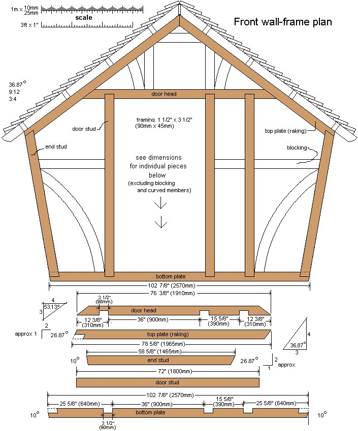 10 x 10 Tudor Style Shed : Shed front wall plan
