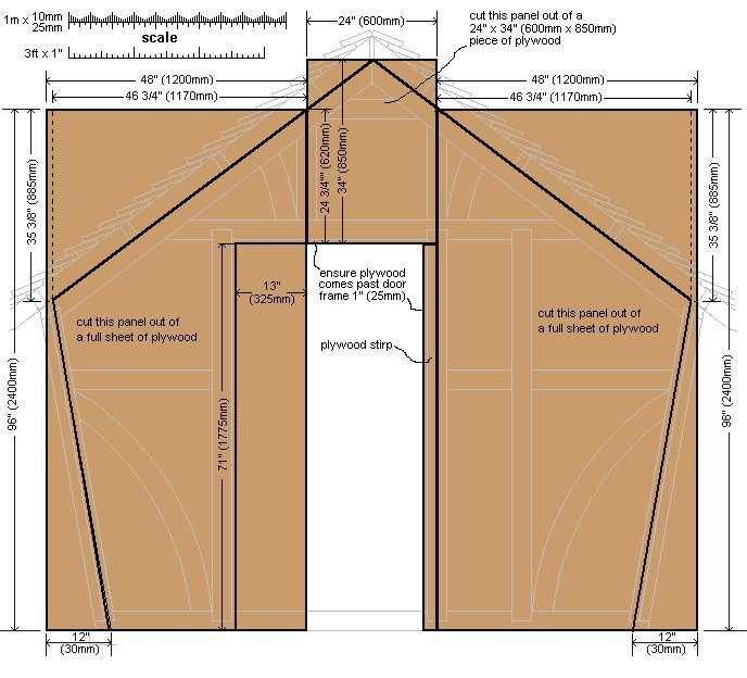 10 x 10 Tudor Style Shed : Shed front-wall cladding plan