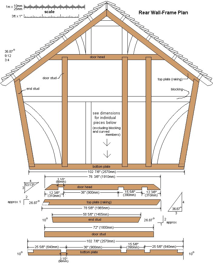 10 x 10 Tudor Style Shed : Shed rear wall plan