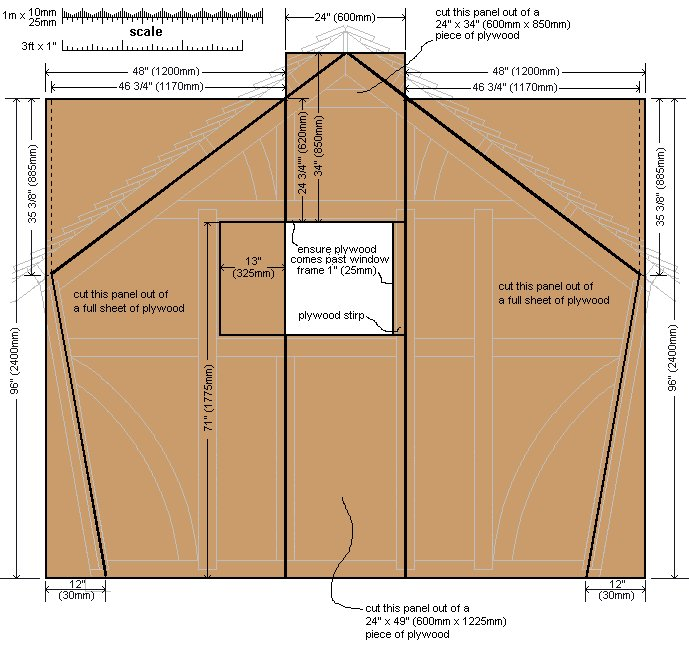 10 x 10 Tudor Style Shed : Shed rear-wall cladding plan