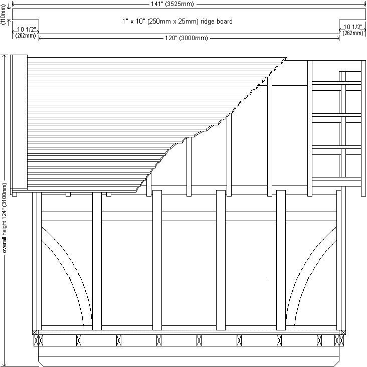 10 x 10 Tudor Style Shed : Shed side elevation plan