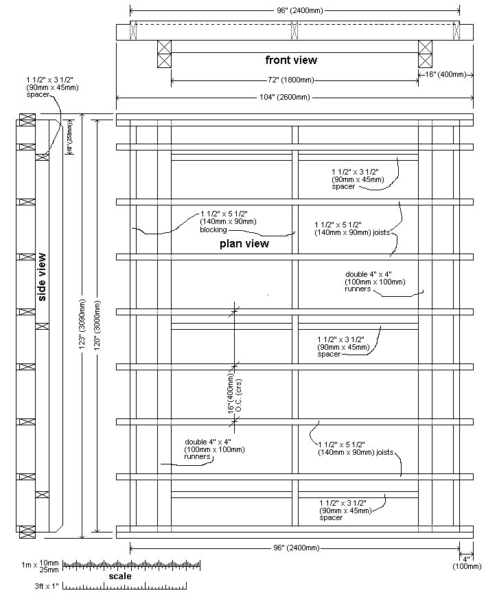 10 x 10 Tudor Style Shed : shed sub-floor plan