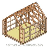 Board and batten Shed Plans :  All the Roof Rafters on the Shed