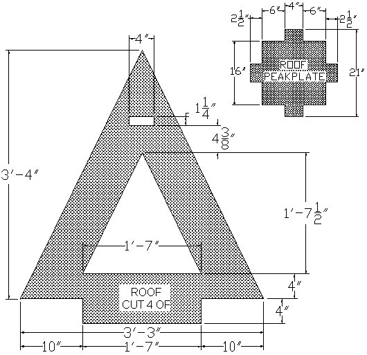 kids playhouse roof plan in ft and inches