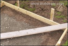 Concrete formwork being pegged