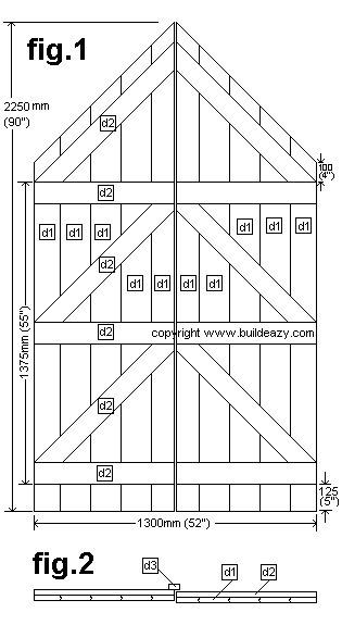 Narrow Backyard Shed : Double Doors Plan