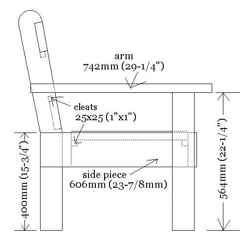 garden chair side view plans