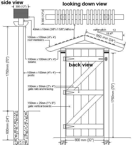 Gated Arbor Plans : Side, Back and Looking Down View