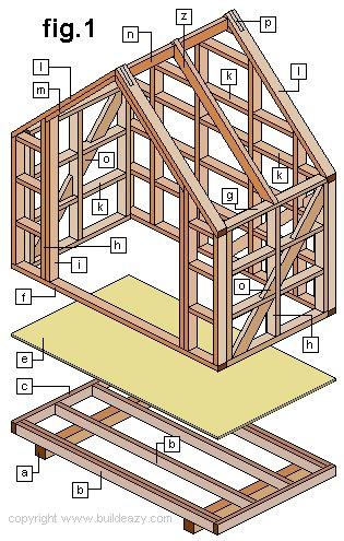 Narrow Backyard Shed : Wall Frame Plan and Parts Identification