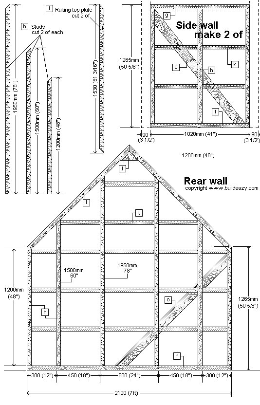 Narrow Backyard Shed : Rear and Side Frame Plans