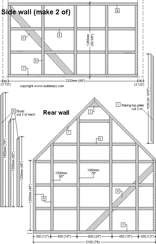 Board and batten Shed Plans :  Rear and Side Frame