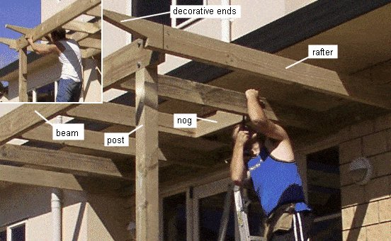 Attached Pergola Plans : Decorative Ends and Blocking