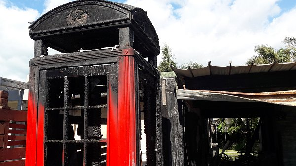 burnt telephone box photo 1
