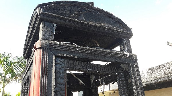burnt telephone box photo 2