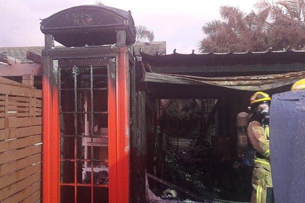 burnt telephone box photo 4