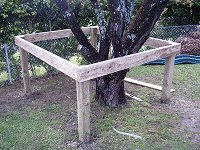 Treehouse Plan : Fis the Tree House Posts to the Floor Frame