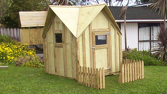 Kids Plywood Playhouse with Fence