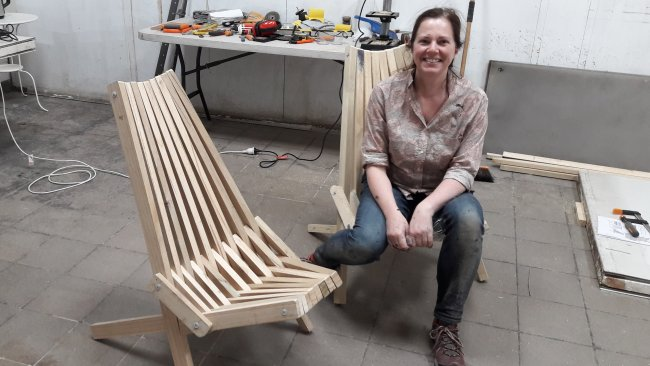 Stick Chair : Robyn Sitting on the Folding Chair that She Built