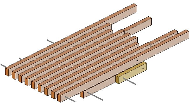 Folding Stick Chair Plan : Seat Pieces Aligned On Top of Each Other