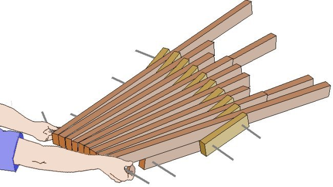 Folding Stick Chair Plan : Seat Lifted Up