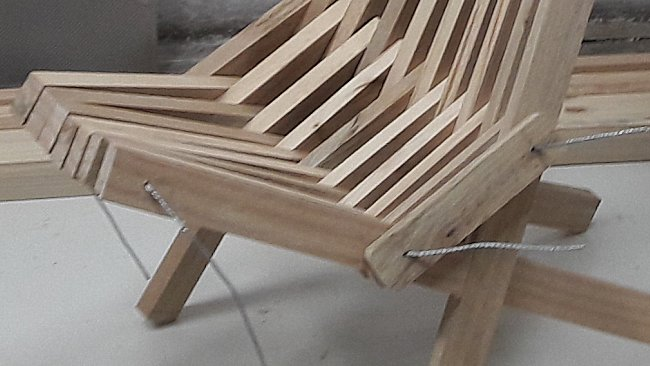 stick chair Seat pieces held together by folding wire down