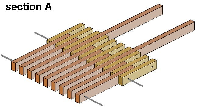 Folding Stick Chair Plan : Seat Pieces in Alignment 3D View
