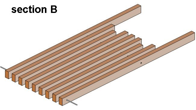 Folding Stick Chair Plan : Seat Pieces Aligned 3D Drawing