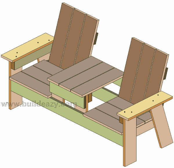 the armrests on a two seater bench with middle table made from 1x6 lumber