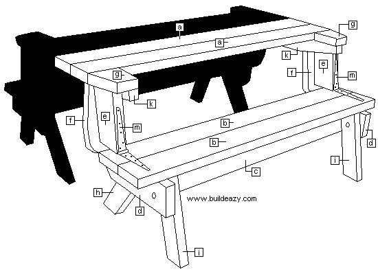 2 Piece Convertible Picnic Table Plan : Identofying the Pieces