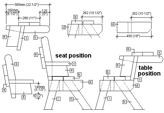 2 Piece Convertible Picnic Table Plan : Side Section