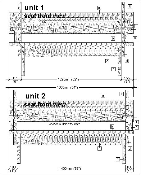 2 Piece Convertible Picnic Table Plan : Seat Front View