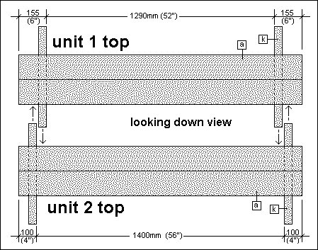 2 Piece Convertible Picnic Table Plan : Looking Down View