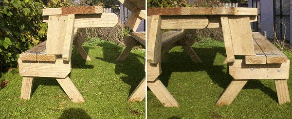 2 Piece Convertible Picnic Table Picture : Side Section