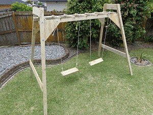 Combination swing frame, monkey bars