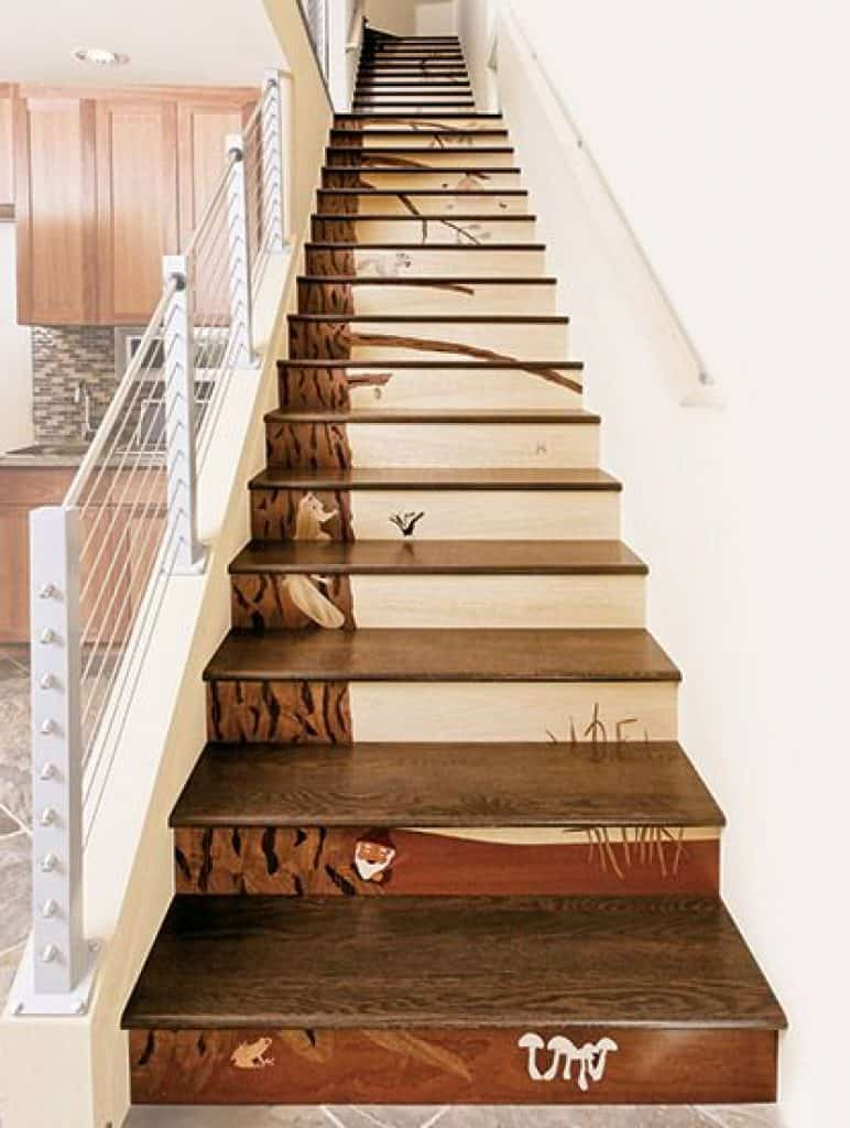 Wooden Stairs with Wood Inlay