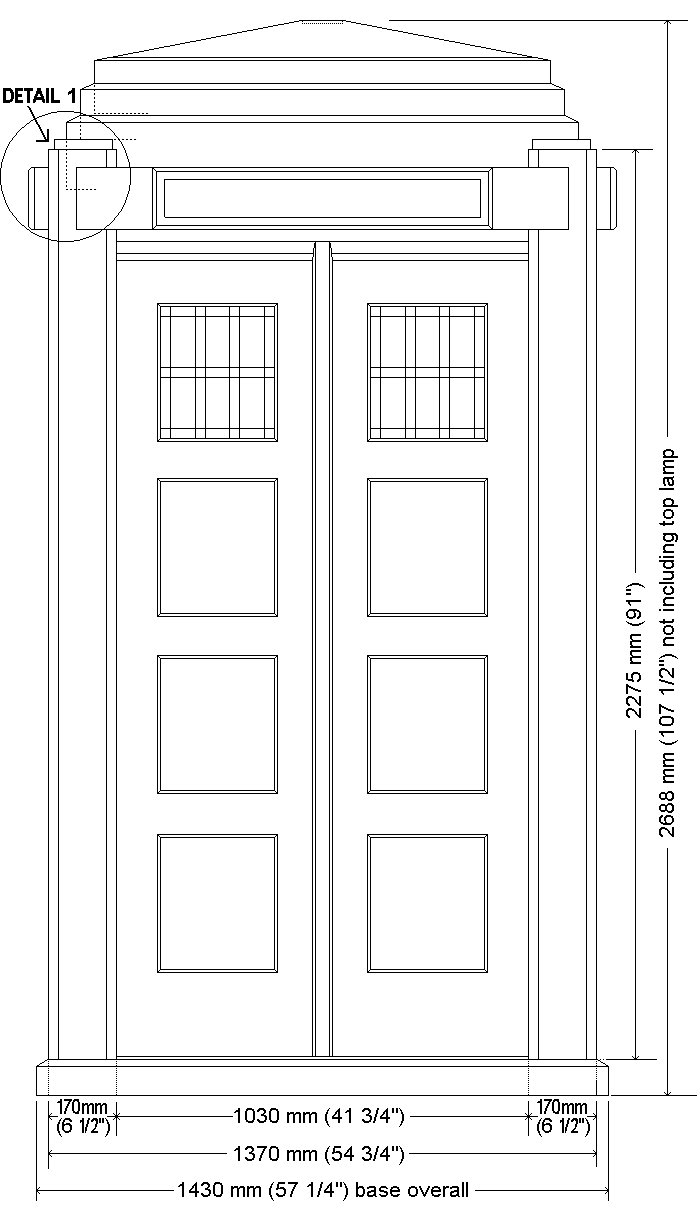 Tardis Plan : Front elevation and floor
