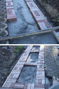 Brick Pathway : Pour Concrete and Add Bricks