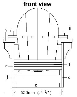 Cape Cod Chair Plan - Front Elevation
