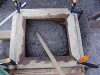 Concrete Post Cap Plans :  Placing Concrete into the Mold