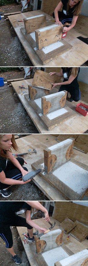 Concrete Seat Plan : Releasing the Leg Forms