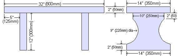 Concrete Seat Plan : Dimensions