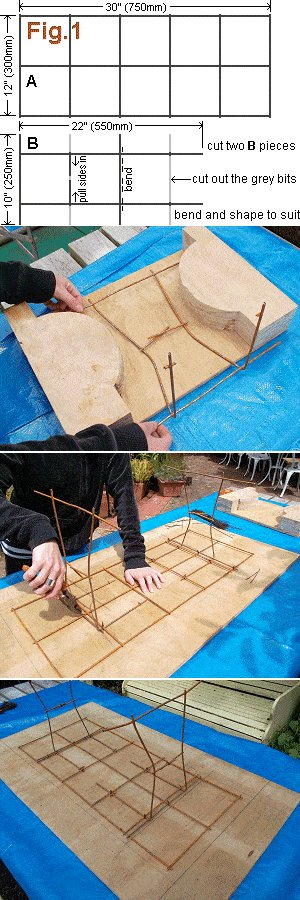 Concrete Seat Plan : Cutting, Shaping and Tying the Mesh