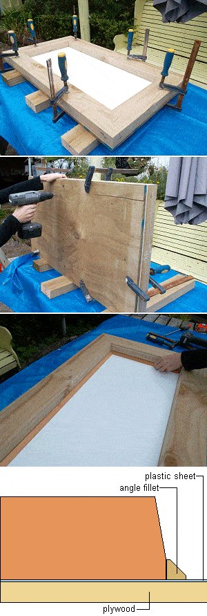 Concrete Seat Plan : Cutting the Plywood, the Plastic and Assembling the Seat Form
