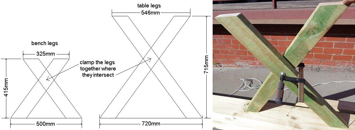 Cross-Leg Table Legs X - Imperial